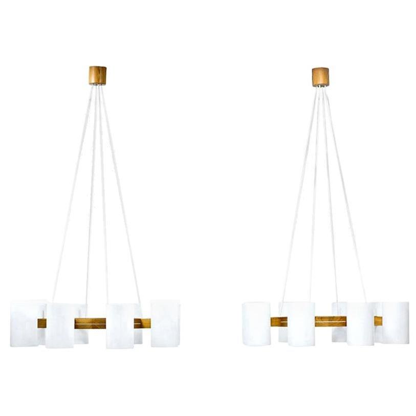 Pine & Acrylic Chandelier by Uno & Östen Kristiansson for Luxus, Sweden