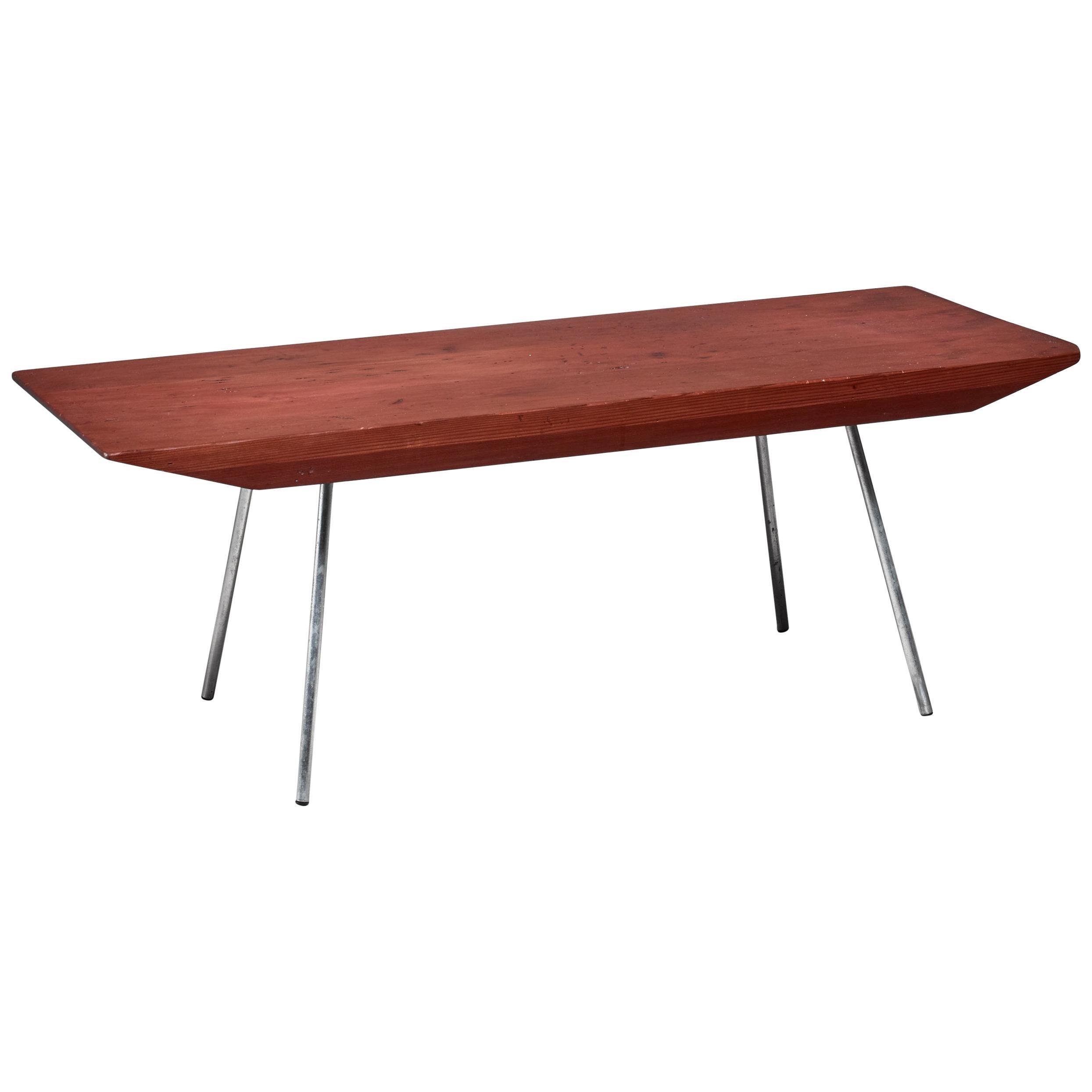 Pine and Aluminium Rectangular Coffee Table, USA