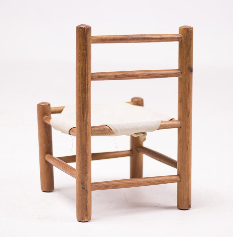French Pine and Canvas Child's Chair For Sale