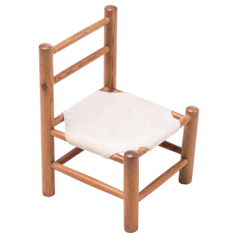 Pine and Canvas Child's Chair For Sale