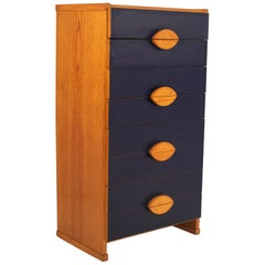 Pine and Dark Blue Formica Chest of Drawers Dresser Chiffonier, Spain, 1970's