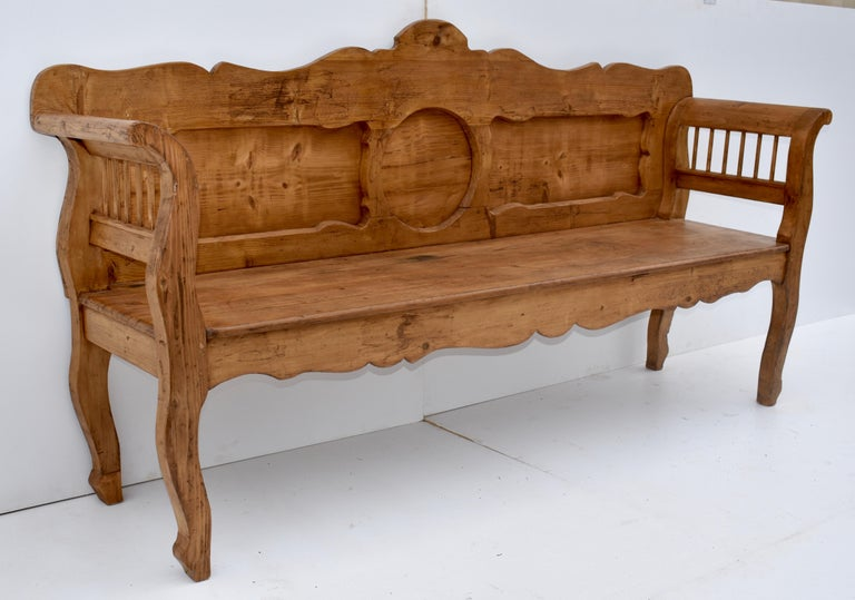 Polished Pine and Oak Bench or Settle