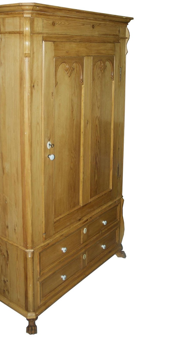 Pine Armoire w/ Single Door & Two Drawers, Denmark, c. 1835 For Sale 6
