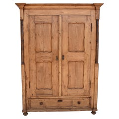 Pine Armoire with Two Doors and One Drawer