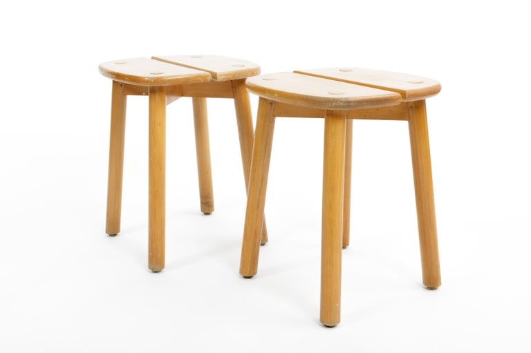 French Pine Buffet Stool by Pierre Gautier-Delaye, France, circa 1950s  For Sale