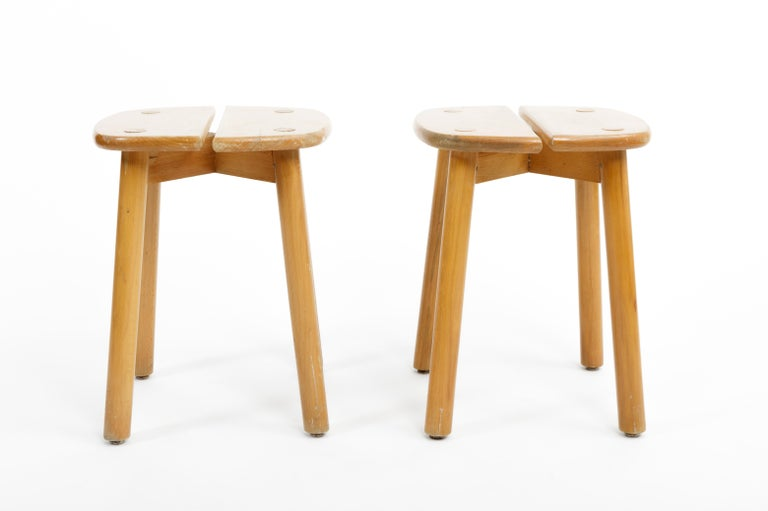 Pine Buffet Stool by Pierre Gautier-Delaye, France, circa 1950s  In Good Condition For Sale In New York City, NY