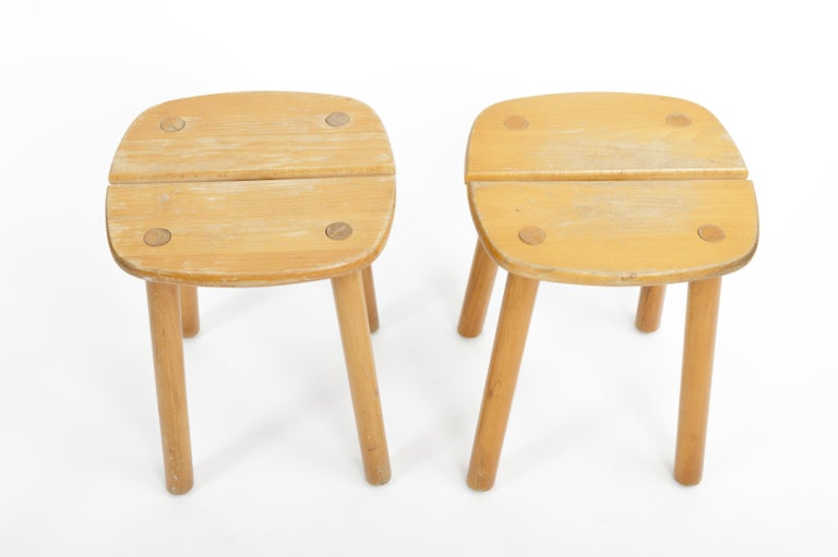 Pine Buffet Stool by Pierre Gautier-Delaye, France, circa 1950s  For Sale 1