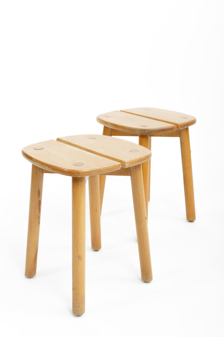 Pine Buffet Stool by Pierre Gautier-Delaye, France, circa 1950s  For Sale 3