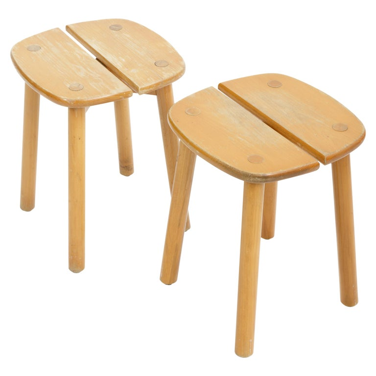 Pine Buffet Stool by Pierre Gautier-Delaye, France, circa 1950s  For Sale
