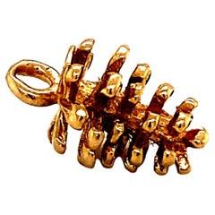Pine Cone Charm in 14 Karat Yellow Gold