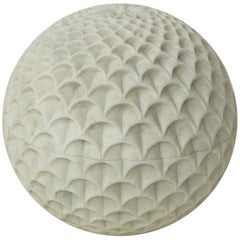 "Pinecone Globe in White Marble 15"" Dia by Paul Mathieu for Stephanie Odegard"