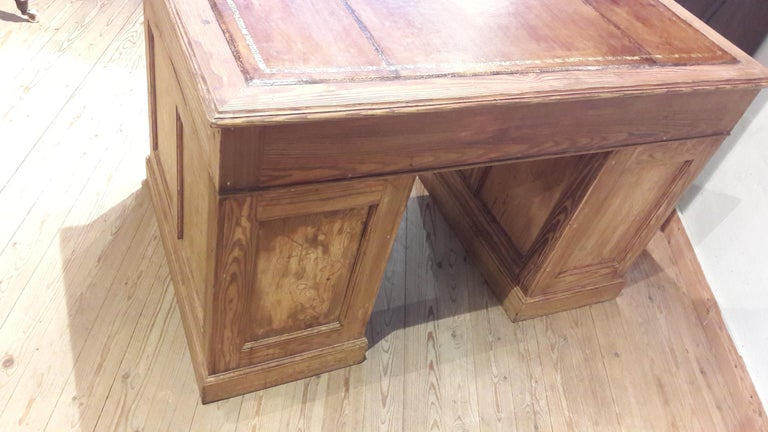 Leather Pine Desk For Sale