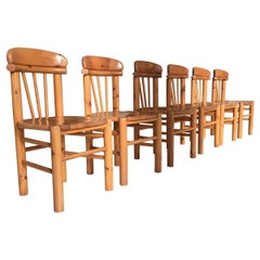 Pine Dining Chairs Rainer Daumiller Set of Six, Denmark, 1970