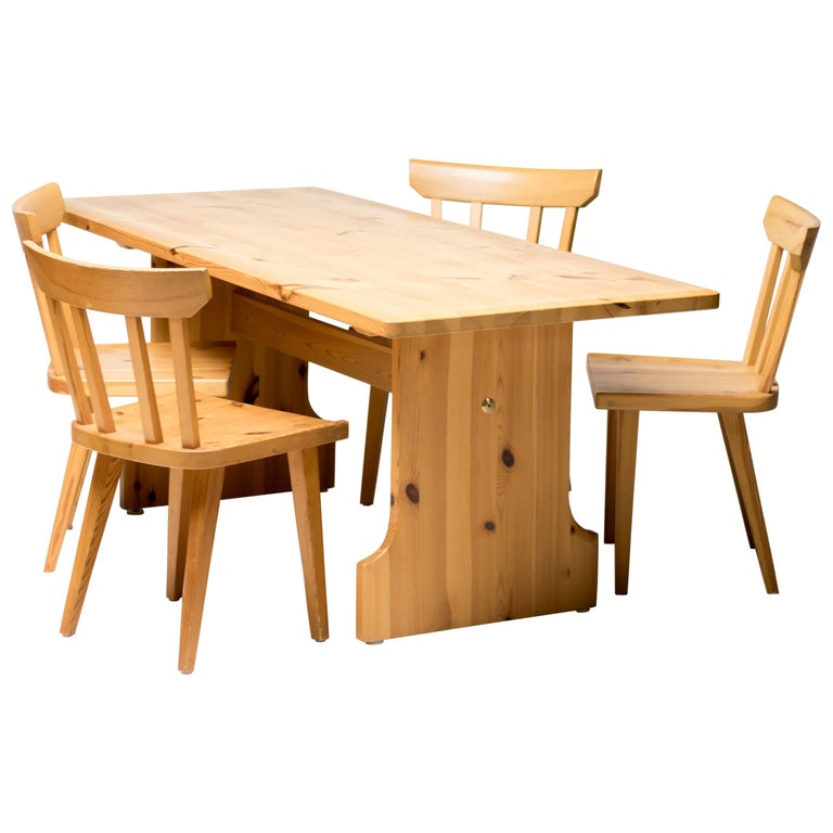 Pine Dining Set by Carl Malmsten For Sale