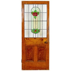 Pine Floral Red / Green Stained Glass Door, 20th Century