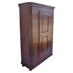 Pine Folk Art Painted Wardrobe