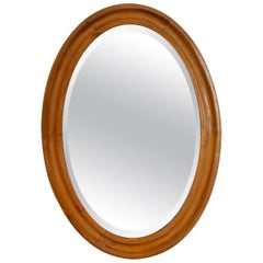 Pine-Framed Oval Beveled Wall Mirror