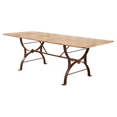 Pine Harvest Farmhouse Dining Table with Iron Trestle Base