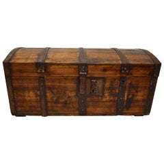 Pine Iron-Banded Dome Top Strong Box