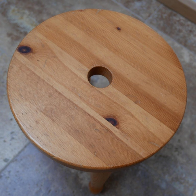 Mid-Century Modern Pine Midcentury Swedish Stool or Side Table For Sale