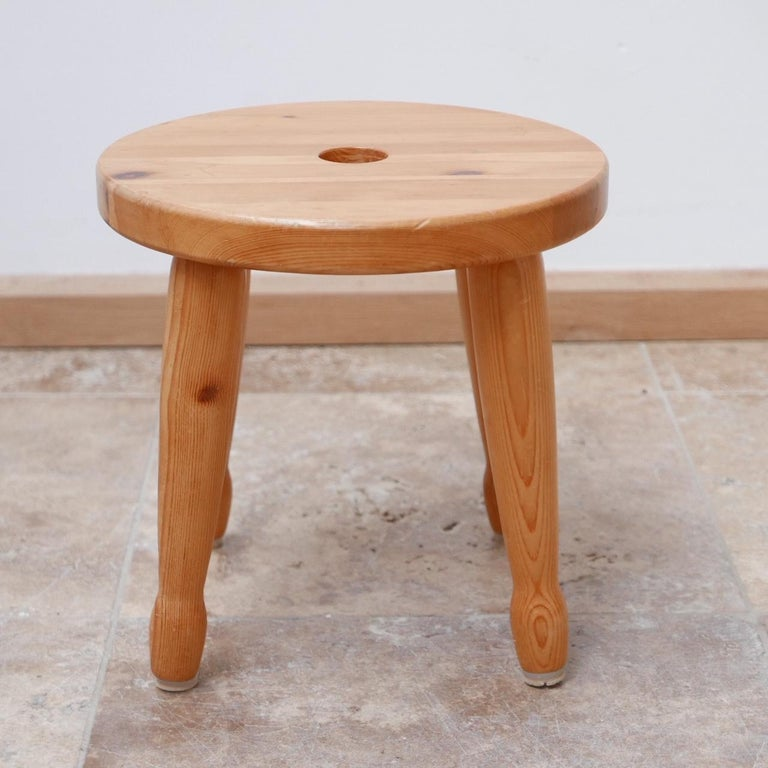 20th Century Pine Midcentury Swedish Stool or Side Table For Sale