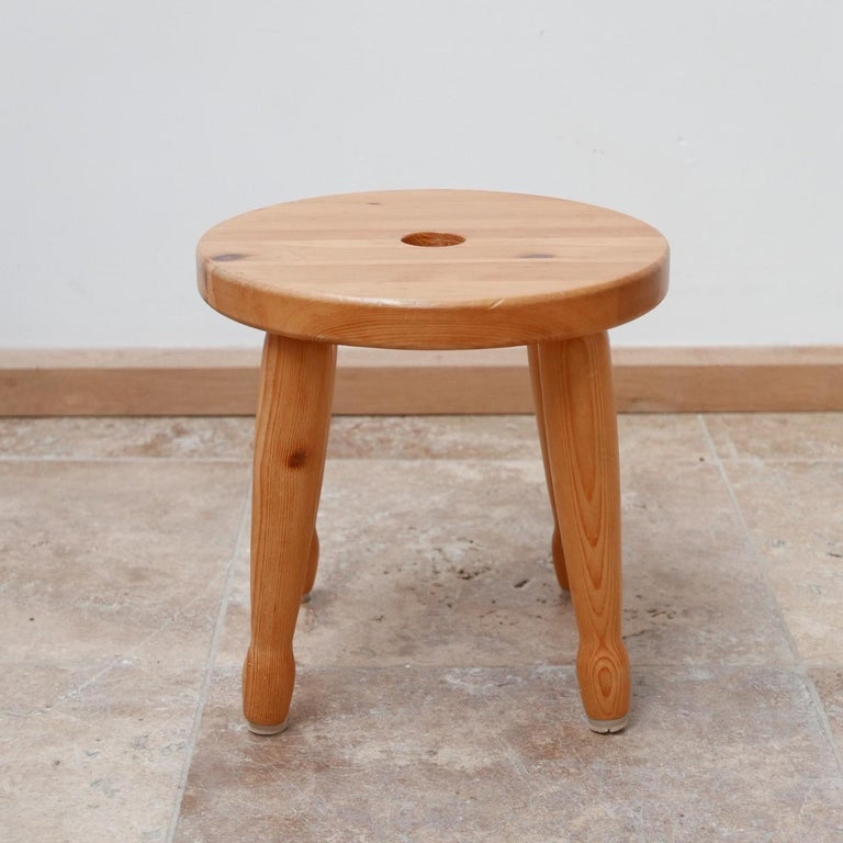 Pine Midcentury Swedish Stool or Side Table For Sale 1