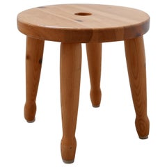 Pine Midcentury Swedish Stool or Side Table