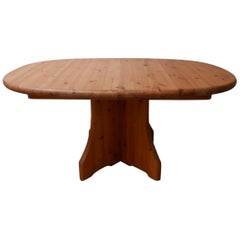 Pine Midcentury Oval Belgium Dining Table