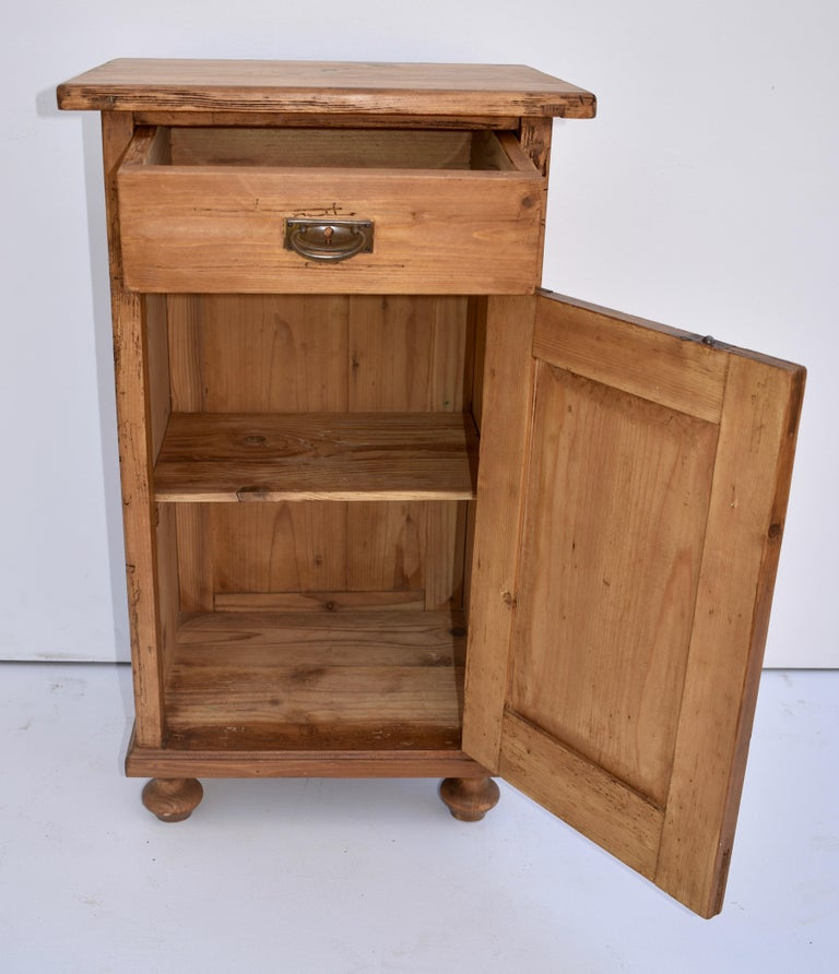 Polished Pine Nightstand For Sale