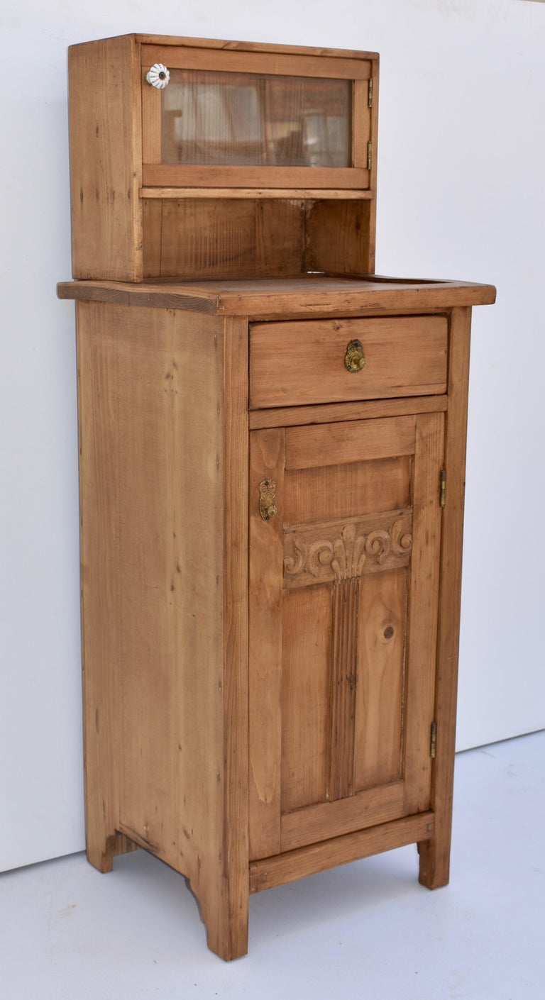 Country Pine Nightstand with Glazed Cupboard For Sale