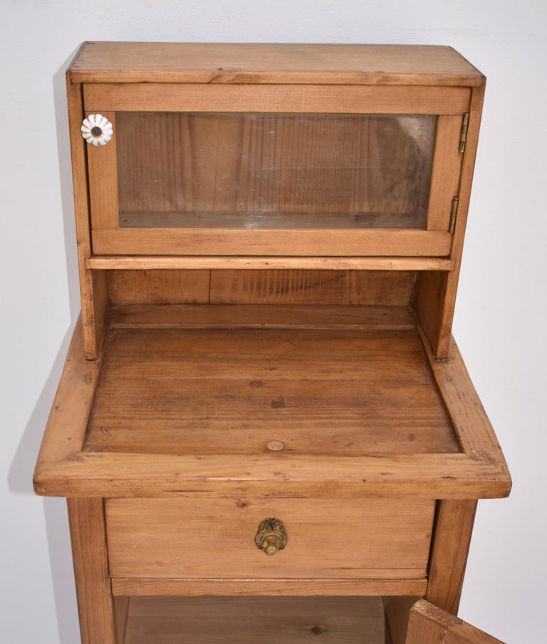 20th Century Pine Nightstand with Glazed Cupboard For Sale
