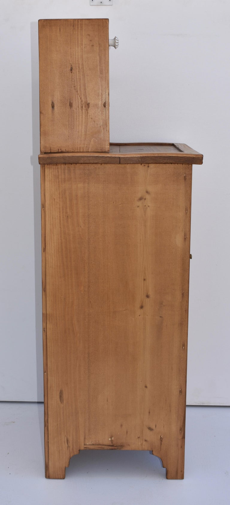 Pine Nightstand with Glazed Cupboard For Sale 1