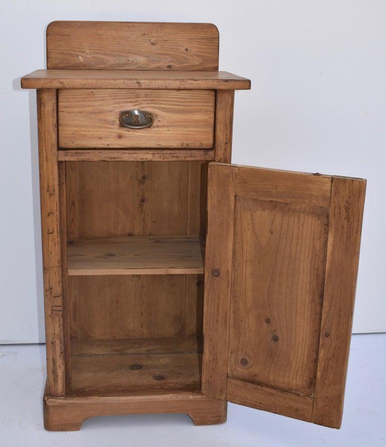 Polished Pine Nightstand with Splashback For Sale