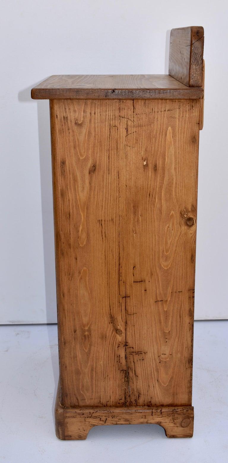 Pine Nightstand with Splashback For Sale 1