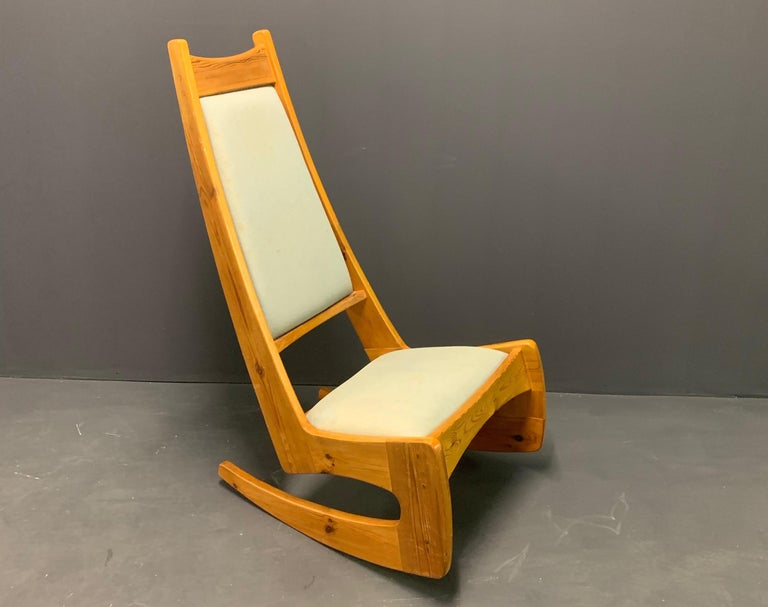 Signed high back rocking chair by woodworker Jeremy Broun.
