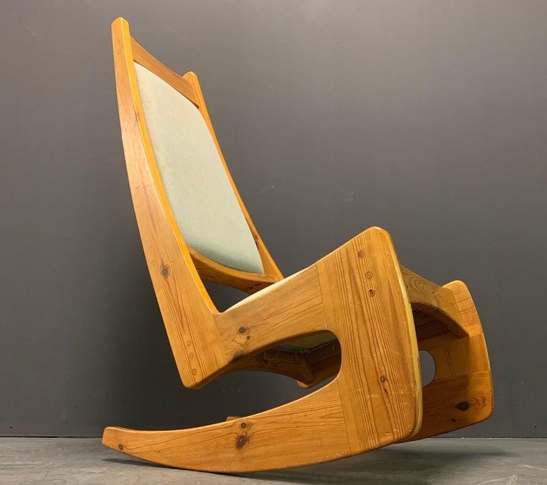 Mid-Century Modern Pine Rocking Chair by Designer Craftsman Jeremy Broun  For Sale