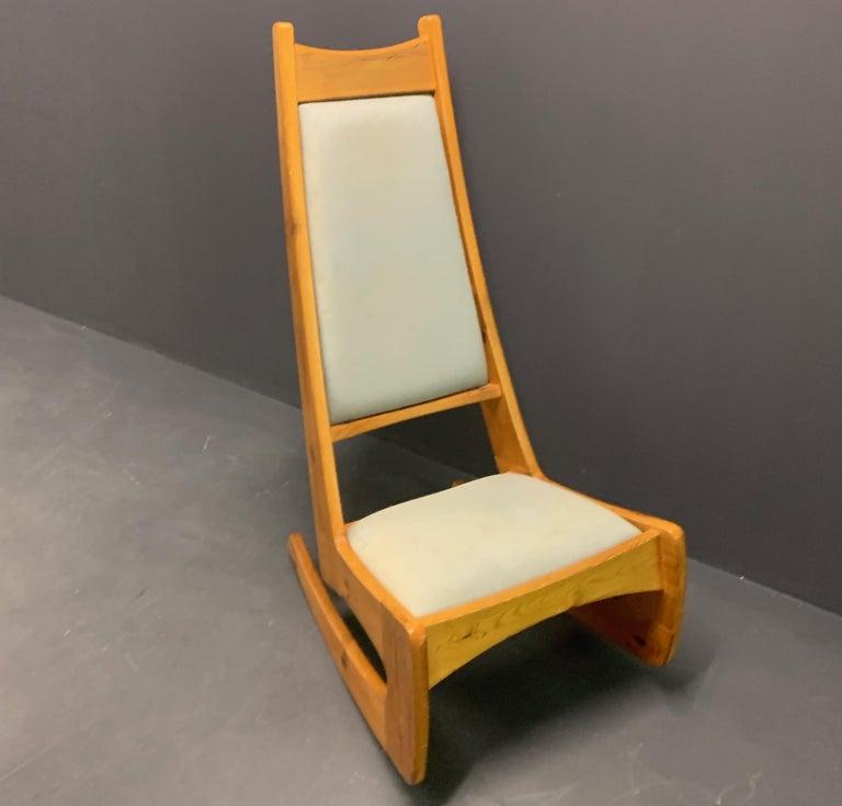 English Pine Rocking Chair by Designer Craftsman Jeremy Broun  For Sale