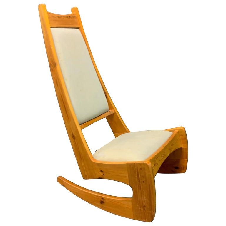 Pine Rocking Chair by Designer Craftsman Jeremy Broun  For Sale