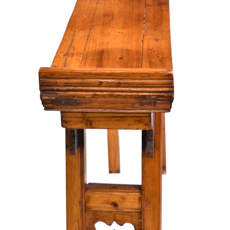 Hand-Carved Elm and Pine Shanxi Altar Table, China, 20th Century For Sale