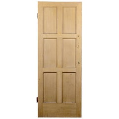 Pine Six Panel Bordered Interior Door, 20th Century