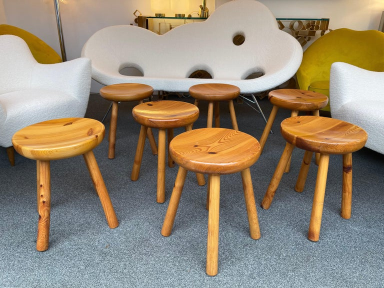 Pine Stool Attributed to Charlotte Perriand, France, 1960s For Sale 5