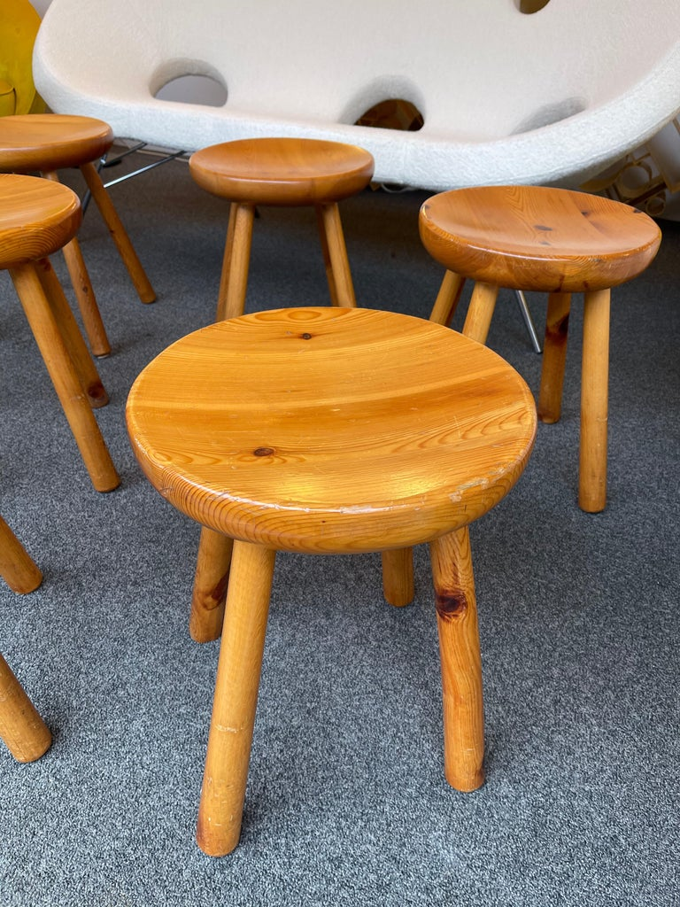 Wood Pine Stool Attributed to Charlotte Perriand, France, 1960s For Sale