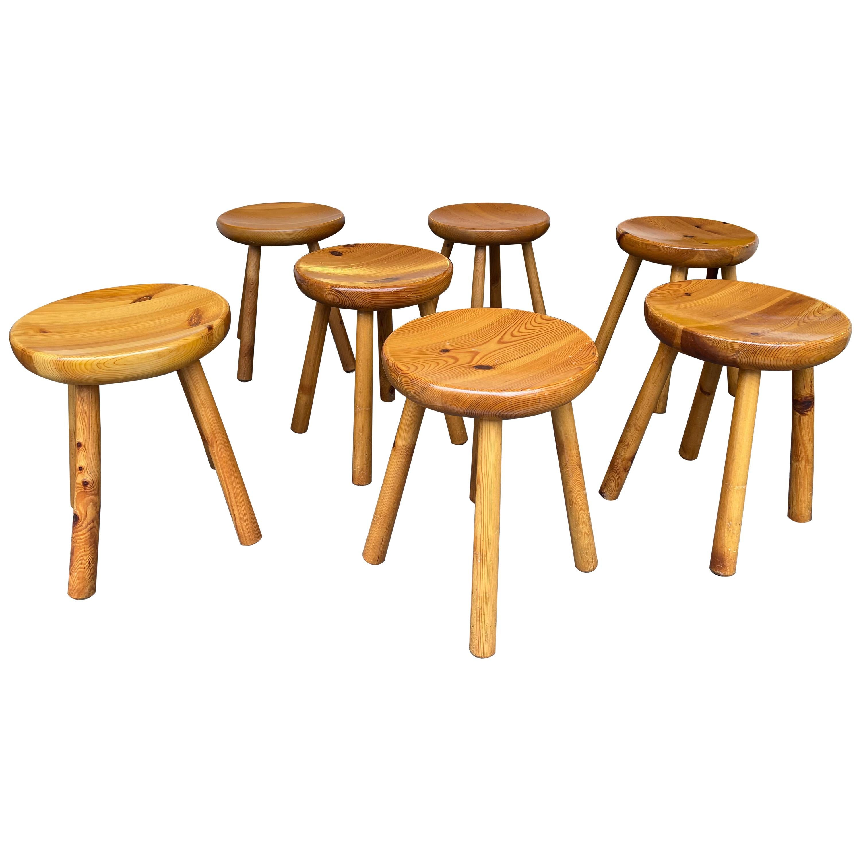 Pine Stool Attributed to Charlotte Perriand, France, 1960s