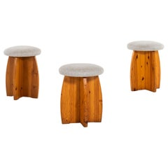 Pine Stools with Linen Fabric Produced in Sweden