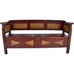 Pine Storage Bench in Original Decorative Paint