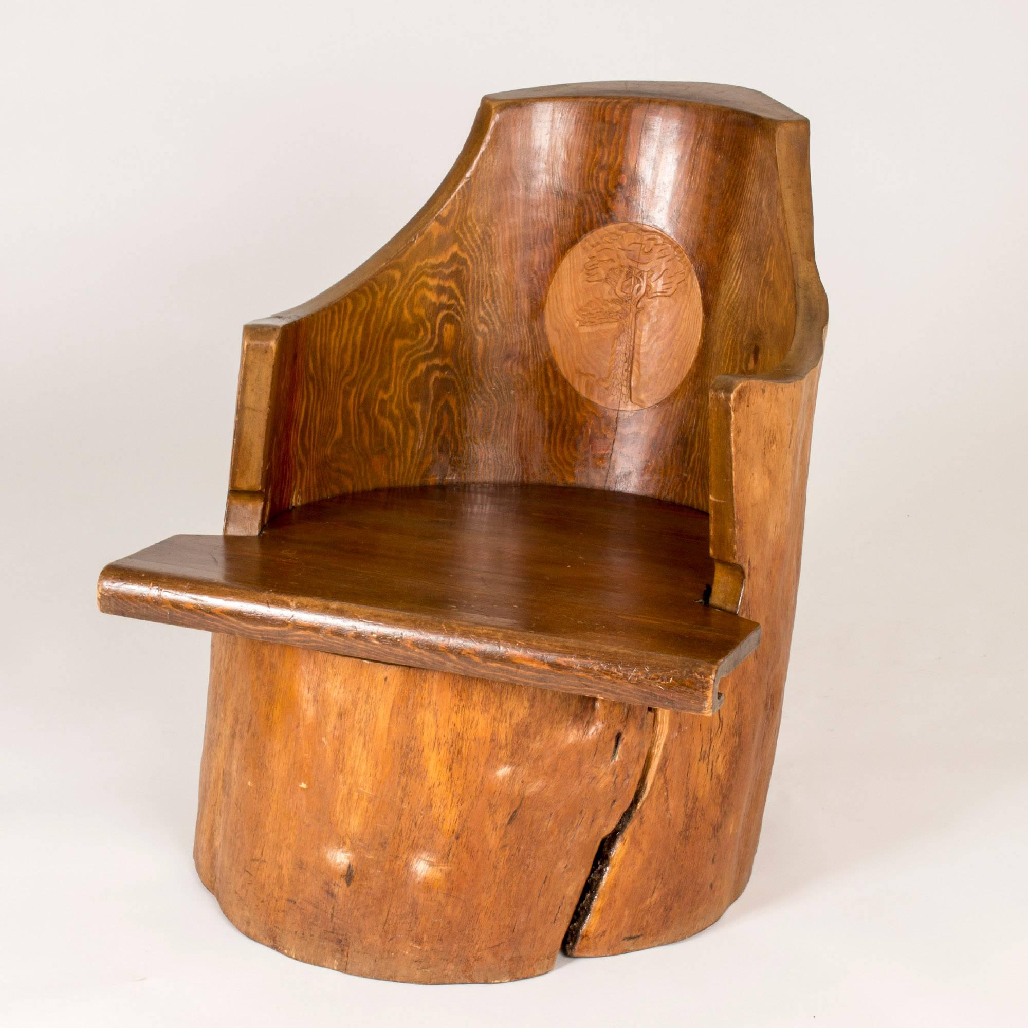 Stump Chair Made From A Large Pine Tree Trunk, With Sculpted Armrests And A  Carved