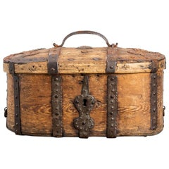 Pine Travel Box from Sweden with Details in Wrought Iron