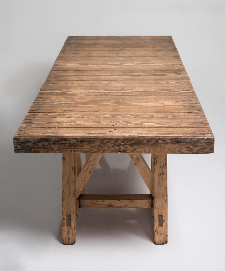 French Pine Trestle Table, France, circa 1930 For Sale