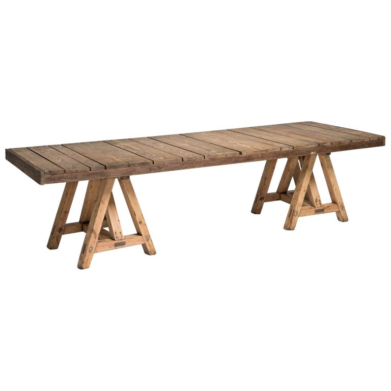 Pine Trestle Table, France, circa 1930 For Sale