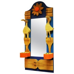 Pine Wallmirror with Decorations by Erik Höglund, Sweden, 1960s